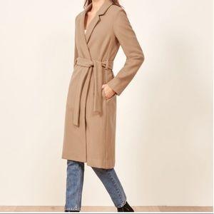 Reformation Belted Barton Camel Coat NEW